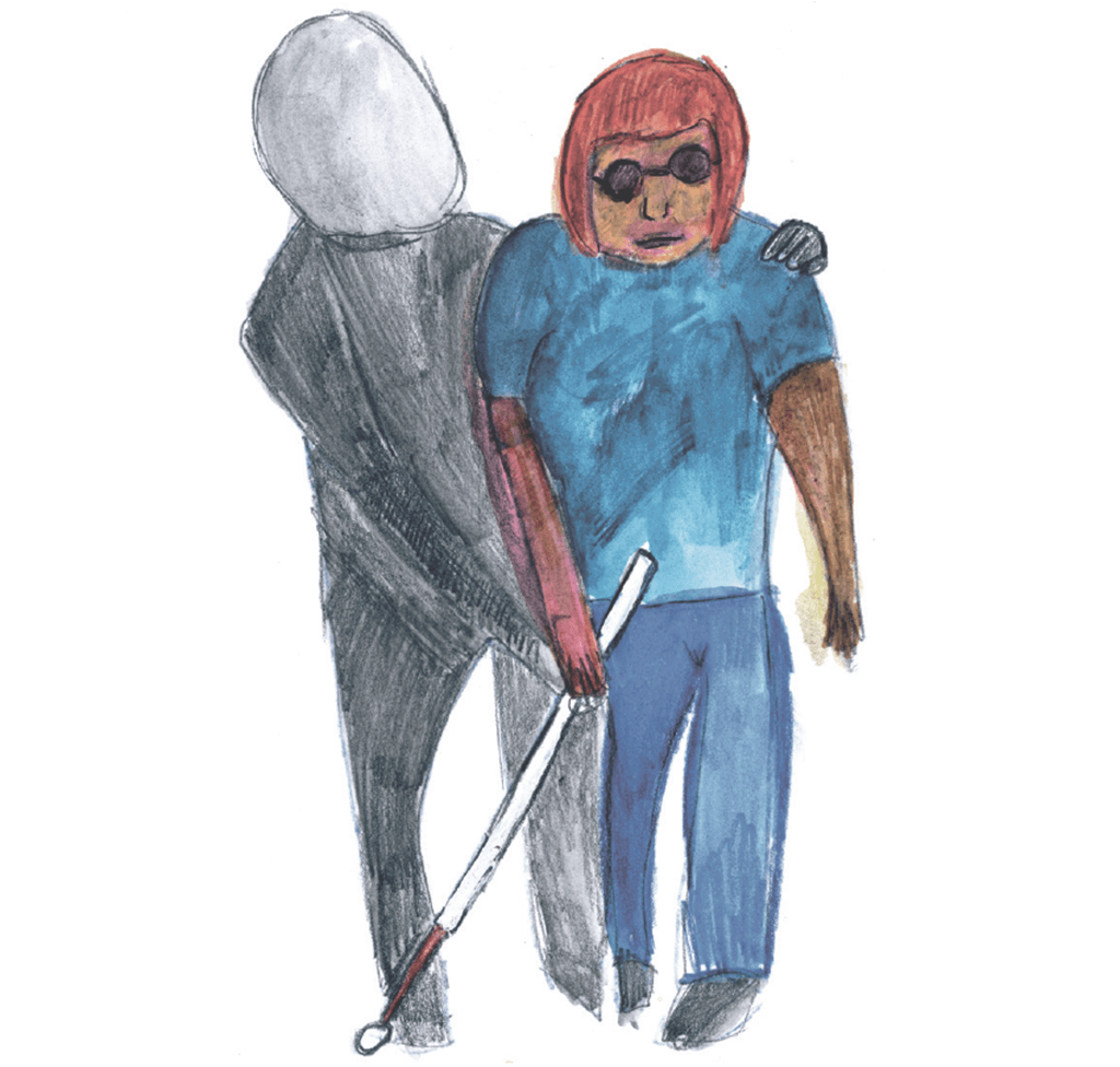 Drawing of a shadowy figure leading a blind figure while walking