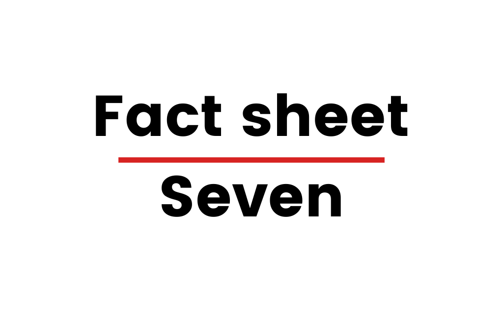 """Image with text that says """"Fact sheet Seven"""""""