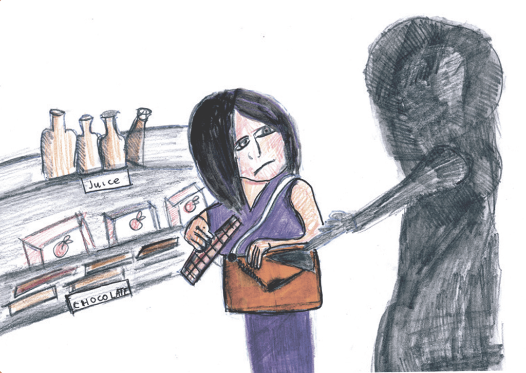 Drawing of a shadowy figure forcing a woman to steal from a store