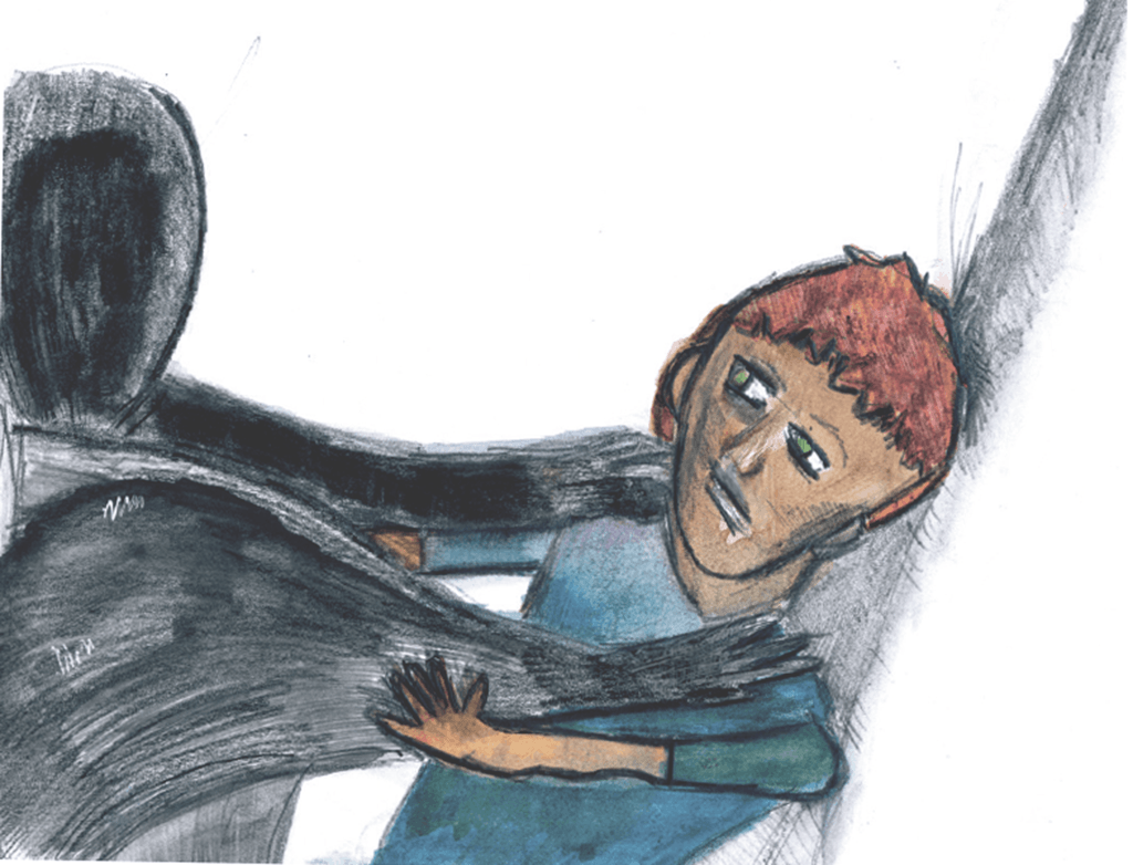 Drawing of a shadowy figure holding a man down
