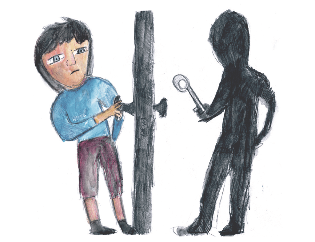 Drawing of a shadowy figure holding a key on one side of a door with a man on the other side trying to open the door
