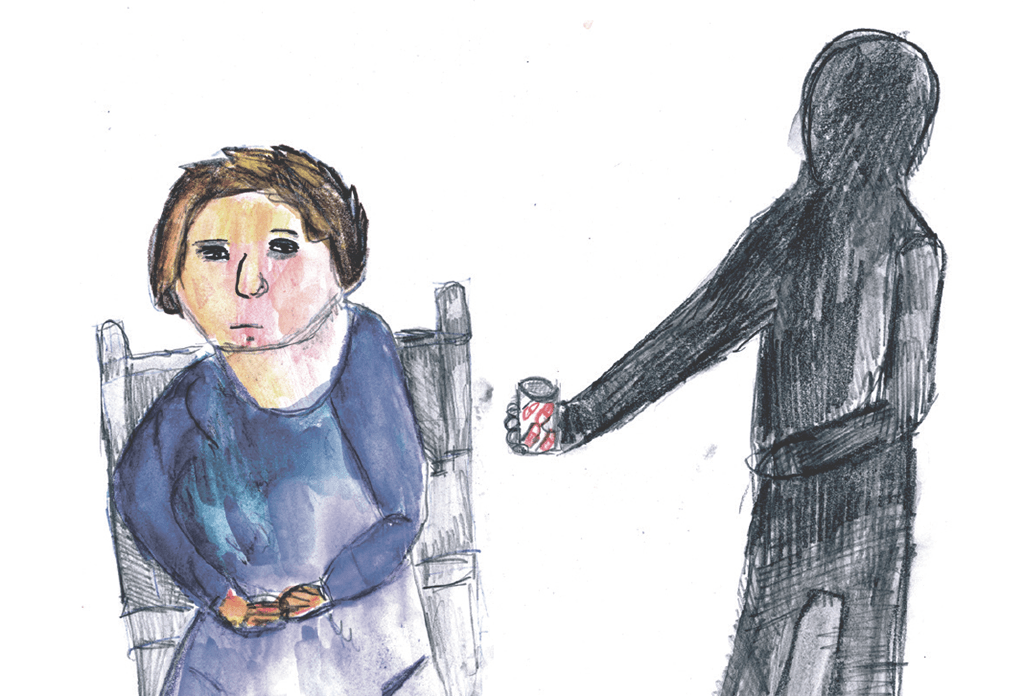 Drawing of a shadowy figure forcing someone to take medication