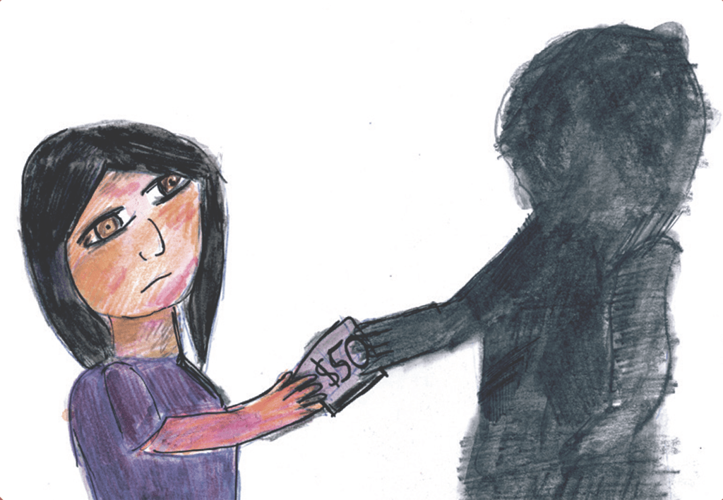 Drawing of a shadowy figure taking a woman's money