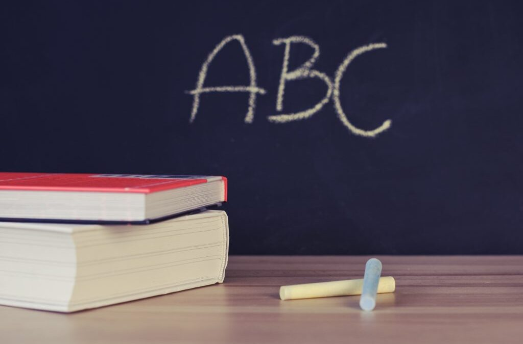 Photo of a blackboard with ABC written, books and chalk