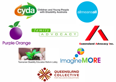 Australian Coalition for Inclusive Education member banner: C Y D A, All Means All, Purple Orange, Family Advocacy, Q A I, Tasmanian Disability Education Reform Lobby, Imagine More, Queensland Collective for Inclusive Education.