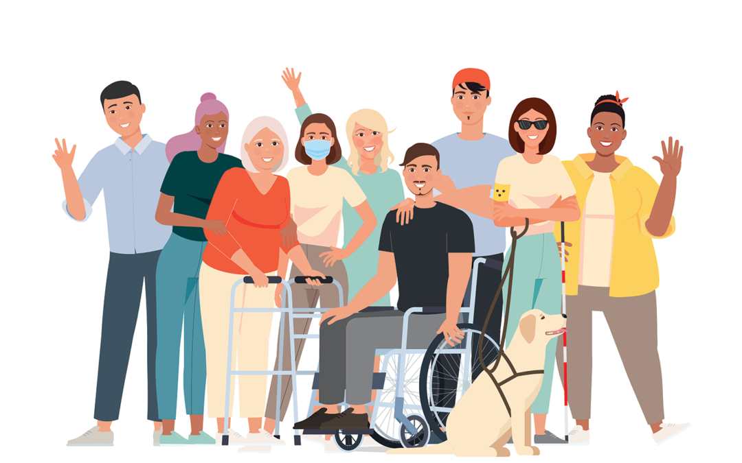 Cartoon image of a group of disability and ethnically diverse people, including a man in a wheelchair, a blind woman with a guide dog, an elderly woman with a mobility walker and a women with compromised immunity wearing a mask.